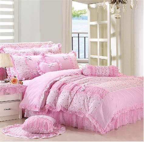 Pink Girls Lace Princess Pastoral Bedding Sets Girls Bedding