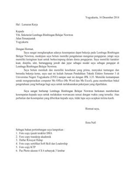 contoh surat lamaran kerja ke lembaga bimbingan belajar contoh