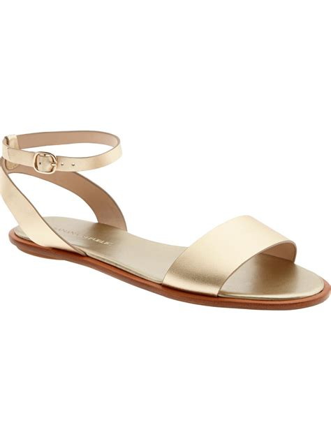 gold flats shoes banana republic maribel ankle flat in gold lyst