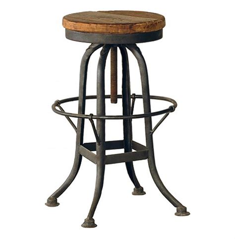 Reclaimed Wood Bar Stool Oleg Industrial Loft Iron Base Reclaimed Wood Bar Counter Stool