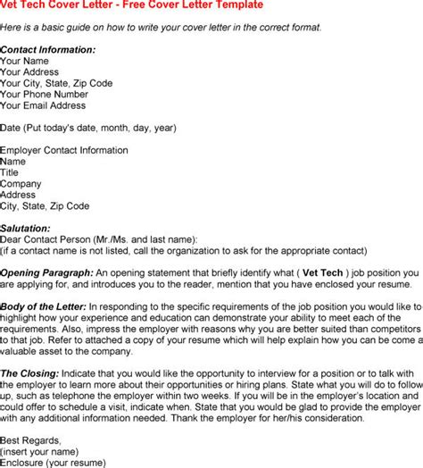 cover letter for vet tech cover letter veterinary internship