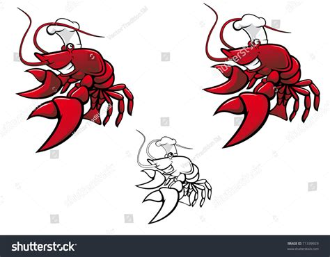 White Also Search For Smiling Crayfish Chef Isolated On White Also As Emblem Vector Version Also