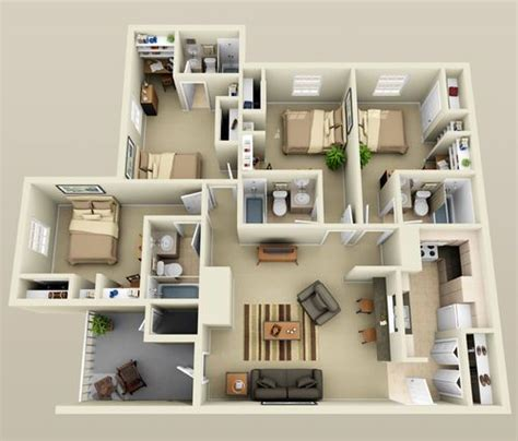 house design plans 3d 4 bedrooms 4 bedroom small house plans 3d smallhomelover com 2