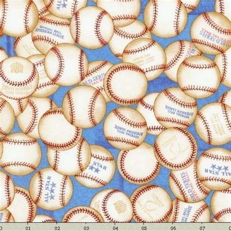 Baseball Quilt Fabric by Crafters Vision Rjr Fabrics Sew Sporty Baseballs
