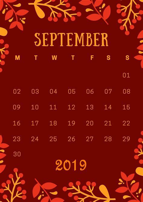 september  iphone calendar wallpaper