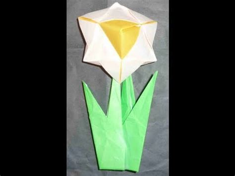 Origami Flower 100th - how to make easy 3d origami flower daffodil narcissus 水仙花