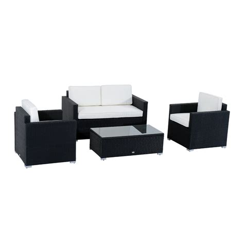 rattan 4 outdoor sofa set outsunny 4pc outdoor rattan sofa patio furniture set