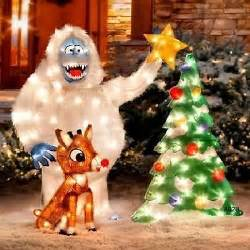 3pc animated lighted outdoor rudolph bumble tree