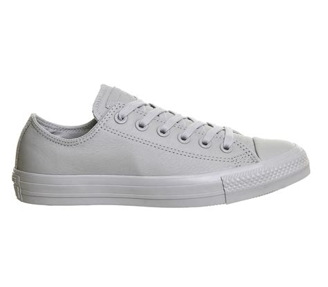 Converse Leather Grey converse all low leather in white lyst