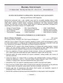 Regional Manager Resume Exles by Business Development And Regional Sales Manager Resume