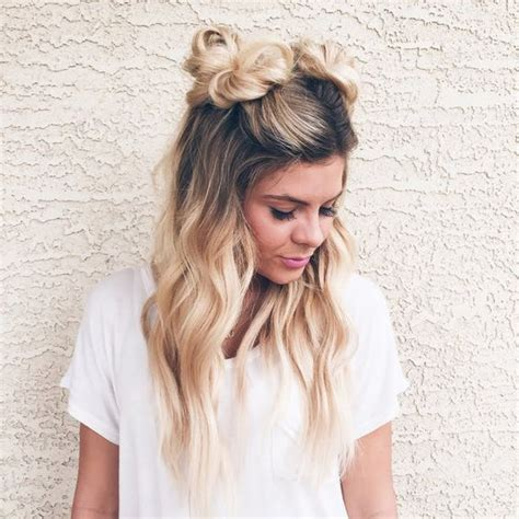 Cute Half Bun Hairstyles | 16 super cute space bun hairstyles you can try this year