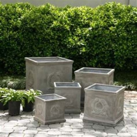 square outdoor planters square fiberclay olympic wreath planter set contemporary
