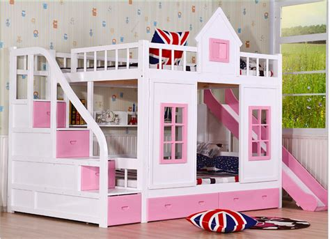 two floor bed children bunk bed wooden 2 floor ladder ark with slide bed pink children bedrooms set furniture