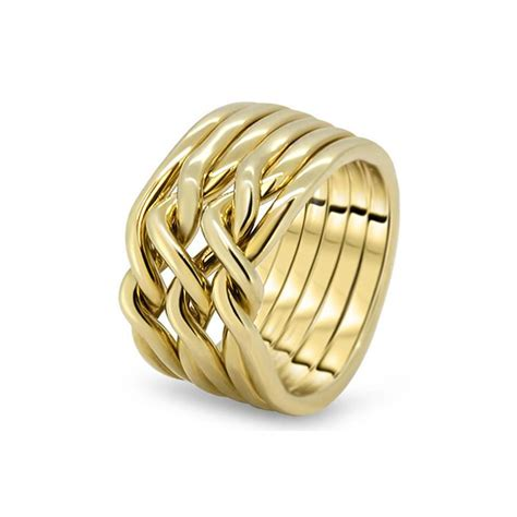 mens gold 6cn m puzzle rings creations