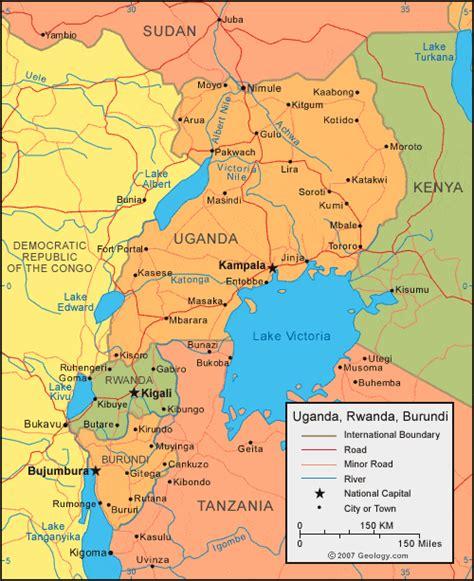 where is uganda on the world map uganda map and satellite image