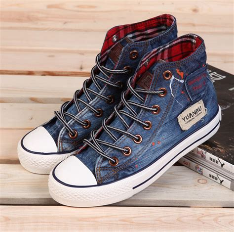 jean sneakers unisex womens and mens canvas shoes high top lace up