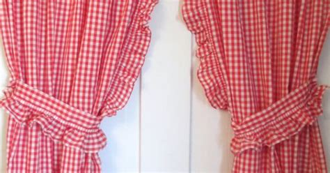 Red White Gingham Curtains   2 panels, Valance and Ruffled