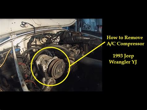 remove ac compressor 1993 jeep wrangler yj air conditioner youtube