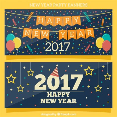 new year 2017 element 2017 new year banners with elements vector free