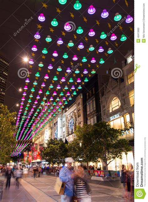 christmas lights in melbourne bourke street mall editorial