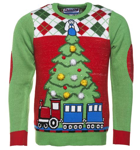 retro light up tree and train knitted jumper from cheesy