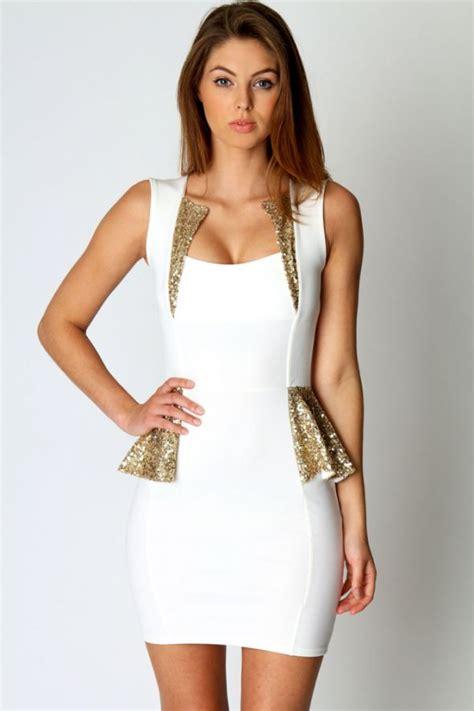 I New Peplum Desire In White asos mała biała baskinka cekiny wesele sukienka xs w suknie i sukienki szafa pl