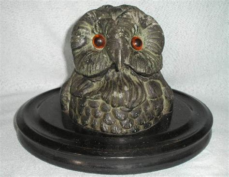 Owl L Base by Painted Metal Owl Inkwell On Wooden Base From