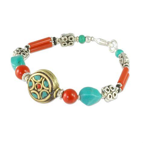 tibetan bead bracelet tibetan beaded bracelet 7 quot coral brass turquoise 1 pc