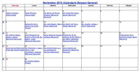 calendario liturgico 2015 2016 catolico