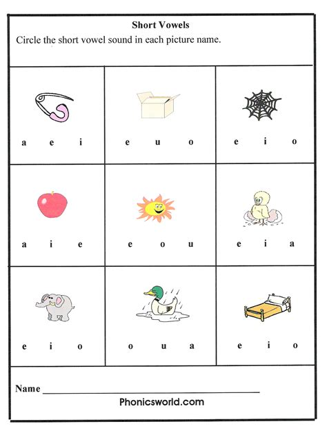 Vowels Worksheets by Phonics Vowels Sounds Images