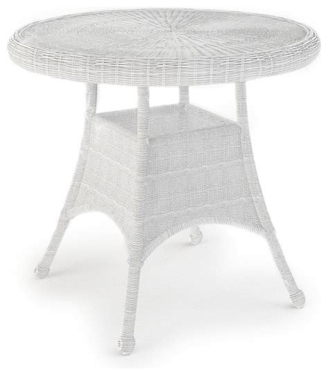 White Wicker Patio Table Rockport 30 In Patio Dining Table White Wicker Traditional Outdoor Dining Tables