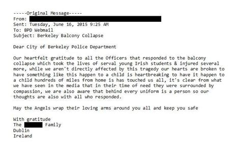 Thank You Letter For Officer Coroner Releases Autopsy Results On Balcony Victims Responders Sought Help For Shock