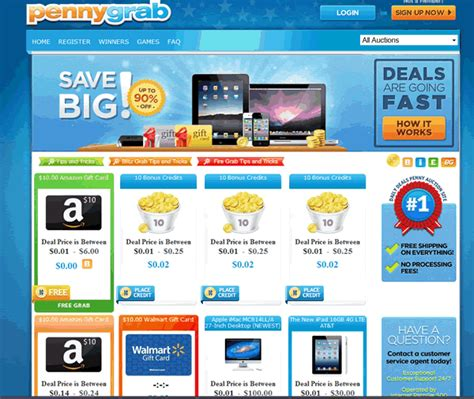 Best Penny Auction Sites For Gift Cards - pennygrab a different kind of penny auction site