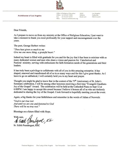 thank you letter to religion the ordinary society appreciation letter template