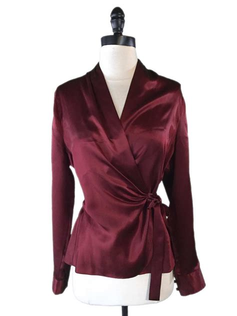 Limited Top the limited top sz m 100 silk wrap blouse maroon burgundy