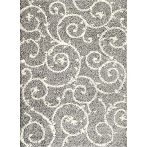 Grey Area Rug 8x10 World Rug Gallery Soft Cozy Contemporary Scroll Light Gray White 7 Ft 10 In X 10 Ft Indoor