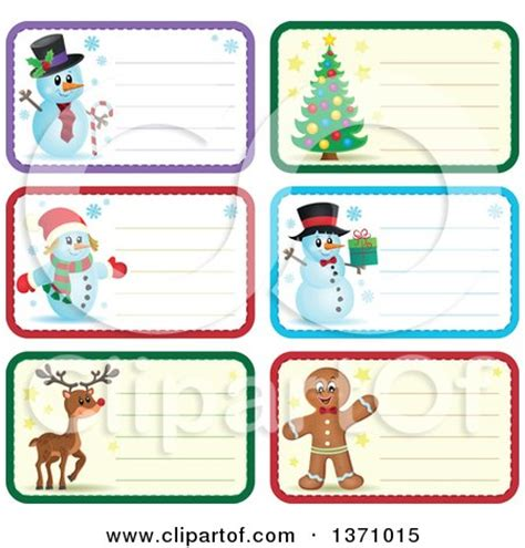 printable reindeer name tags clipart of christmas gift or name tag labels of snowmen a