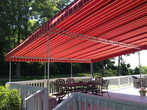awning red residential red stripe sunbrella patio deck awning jpg