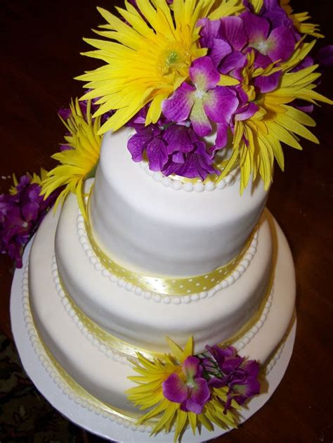 Wedding Cakes With Yellow And Purple Flowers yellow and purple wedding cake cakecentral