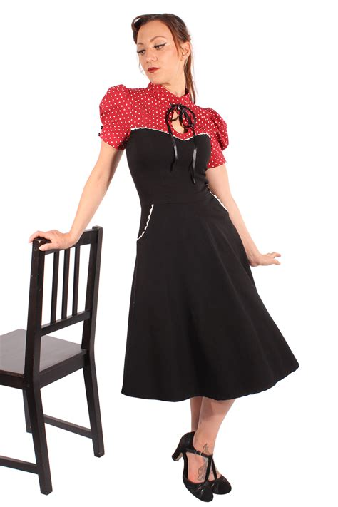 rockabilly swing kleid retro polka dots rockabilly corsagenoptik swing kleid