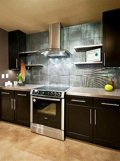 Backsplash Kitchen Designs by Metalic Kitchen Backsplash Design Ideas Decoist