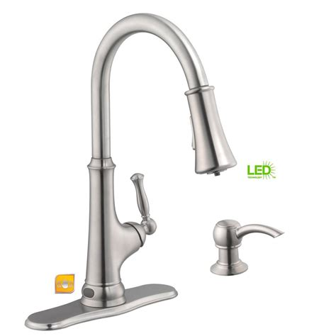 led kitchen faucet glacier bay touchless led single handle pull sprayer