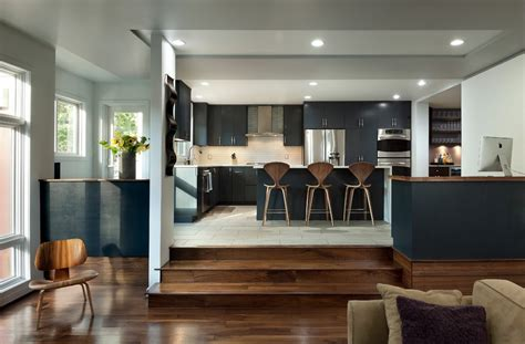 step family room sunken kitchen kitchen contemporary with modern stainless steel wall mount range hoods