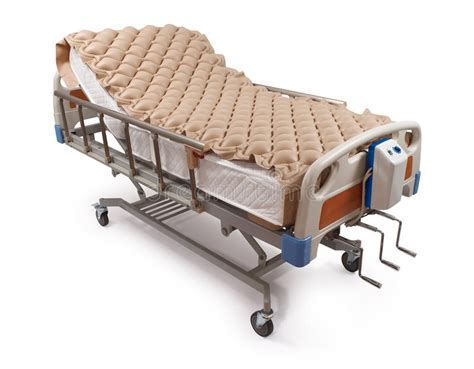 hospital bed  air mattress clipping path stock photo