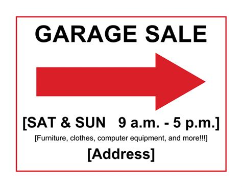 garage sale sign office templates