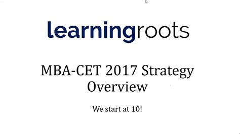 Learning Roots Mba by Mba Cet 2017 Strategy Webinar By Shashank Prabhu Cet Rank