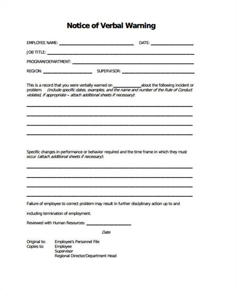 template of verbal warning doc 580600 verbal warning template sle verbal