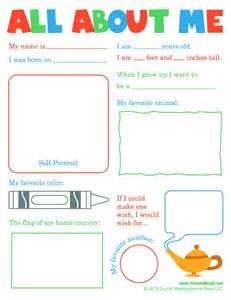 about me template all about me worksheet for kindergarten all about me