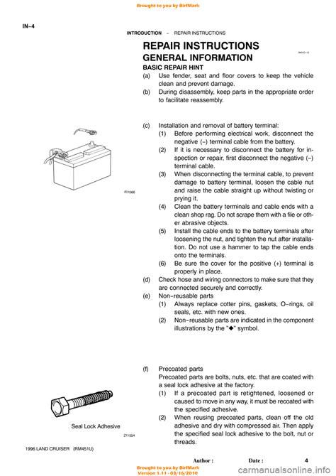 online car repair manuals free 1996 toyota land cruiser security system toyota land cruiser 1996 j80 workshop manual