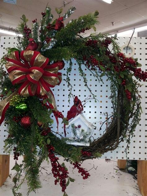 christmas grapevine wreath w birdhouse merry christmas
